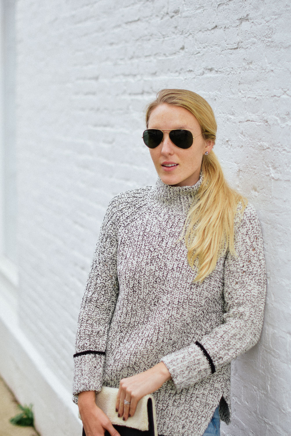 Leslie Musser Ray-Ban aviators and Topshop funnel neck stripe cuff sweater one brass fox