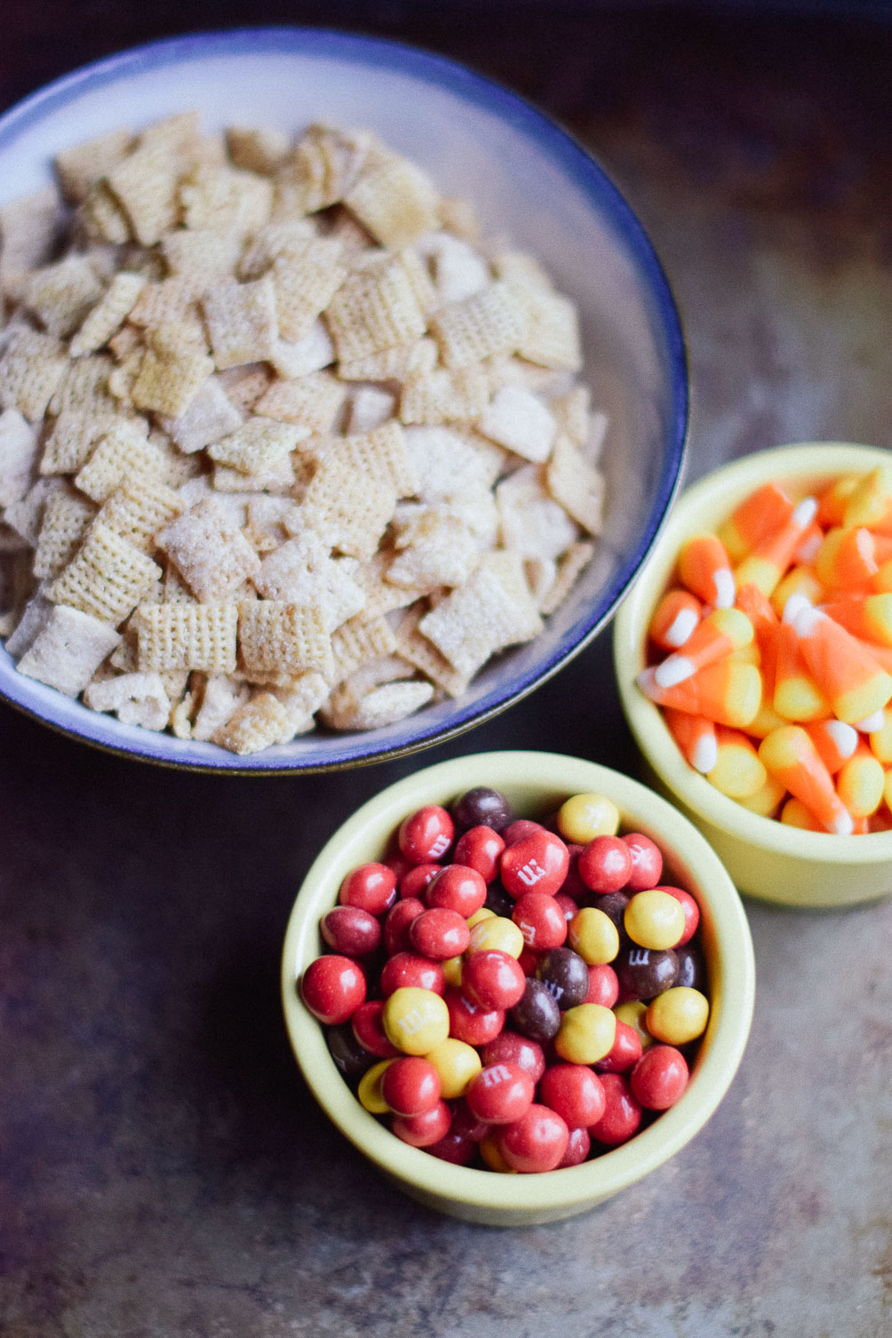 Leslie Musser shares an easy recipe for halloween puppy chow with nutella and candy corn on one brass fox