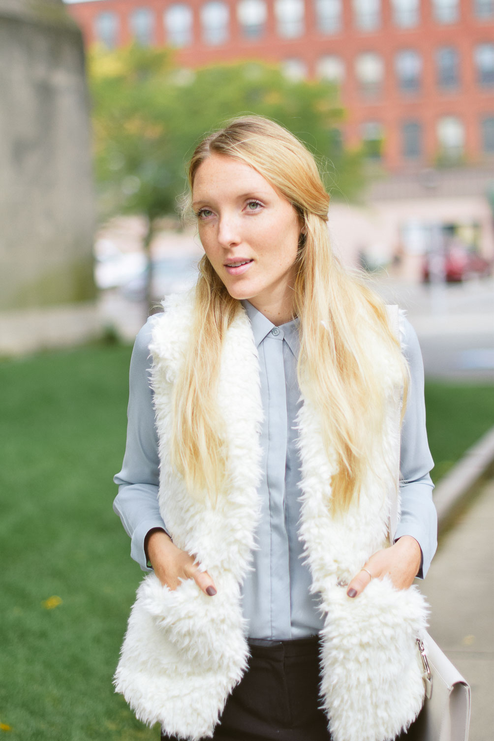 Leslie Musser wear to work outfit inspiration with a shearling vest on one brass fox