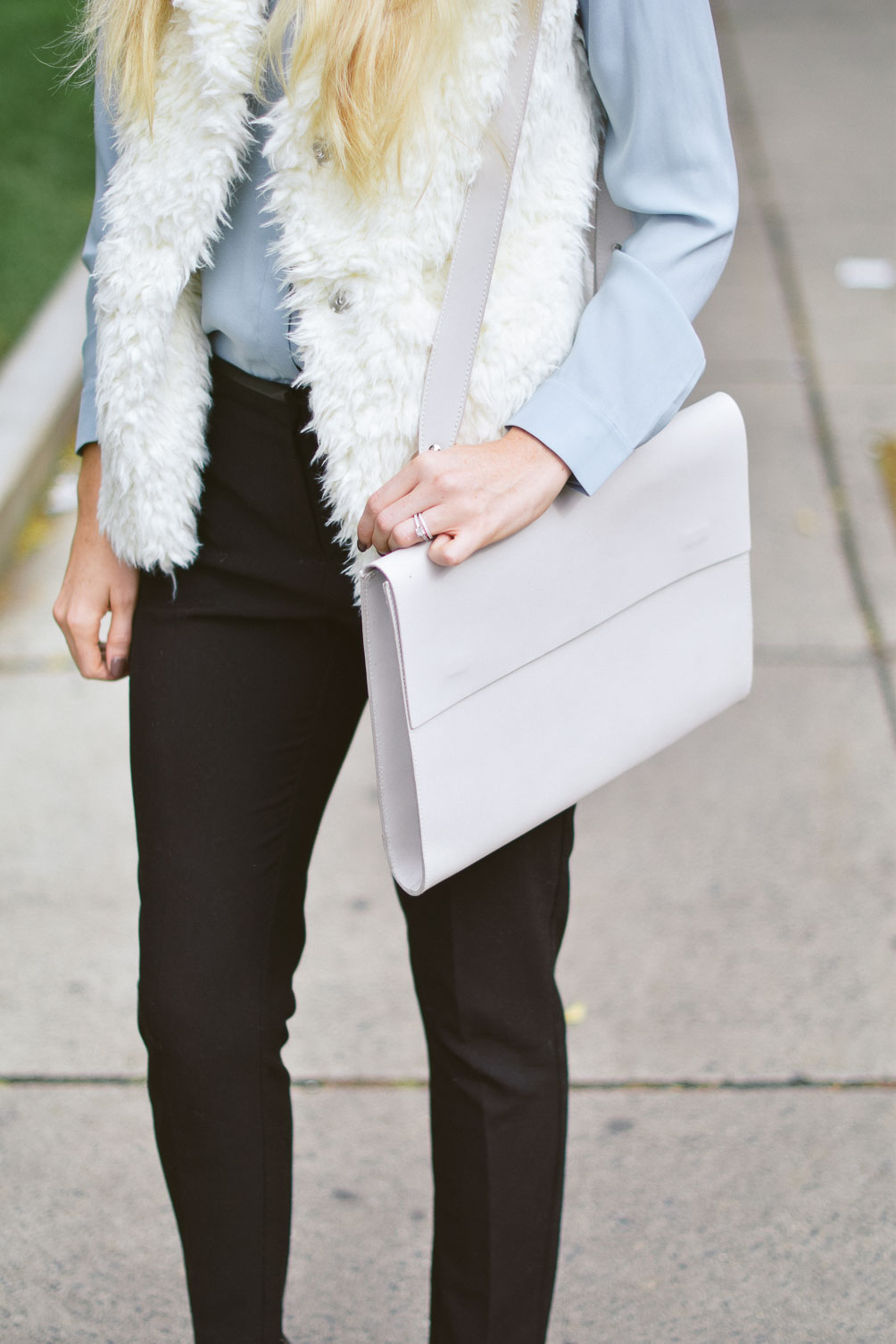 Leslie Musser fall work outfit ideas with m0851 portfolio bag on one brass fox