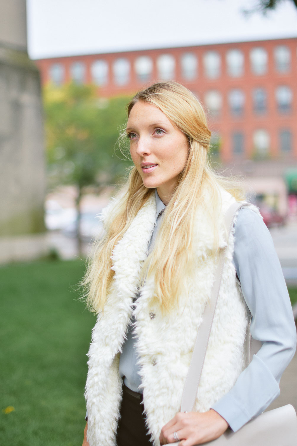 Leslie Mussser wear to work shearling vest for fall on one brass fox