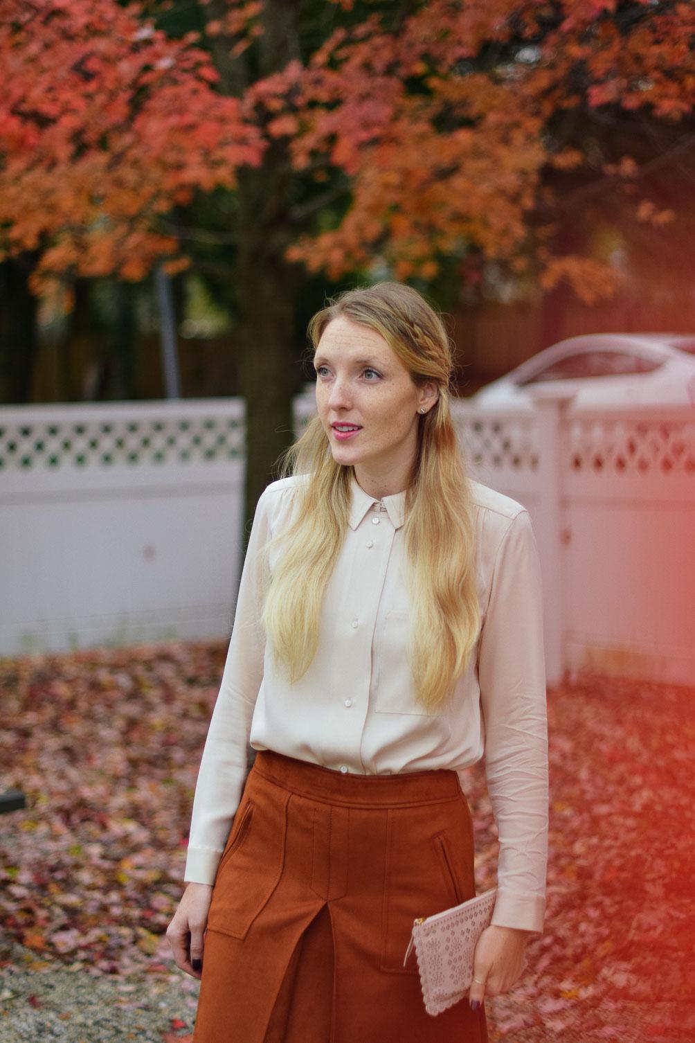 Leslie Musser wearing AYR Dubois Shirt and LOFT rust suede skirt on one brass fox