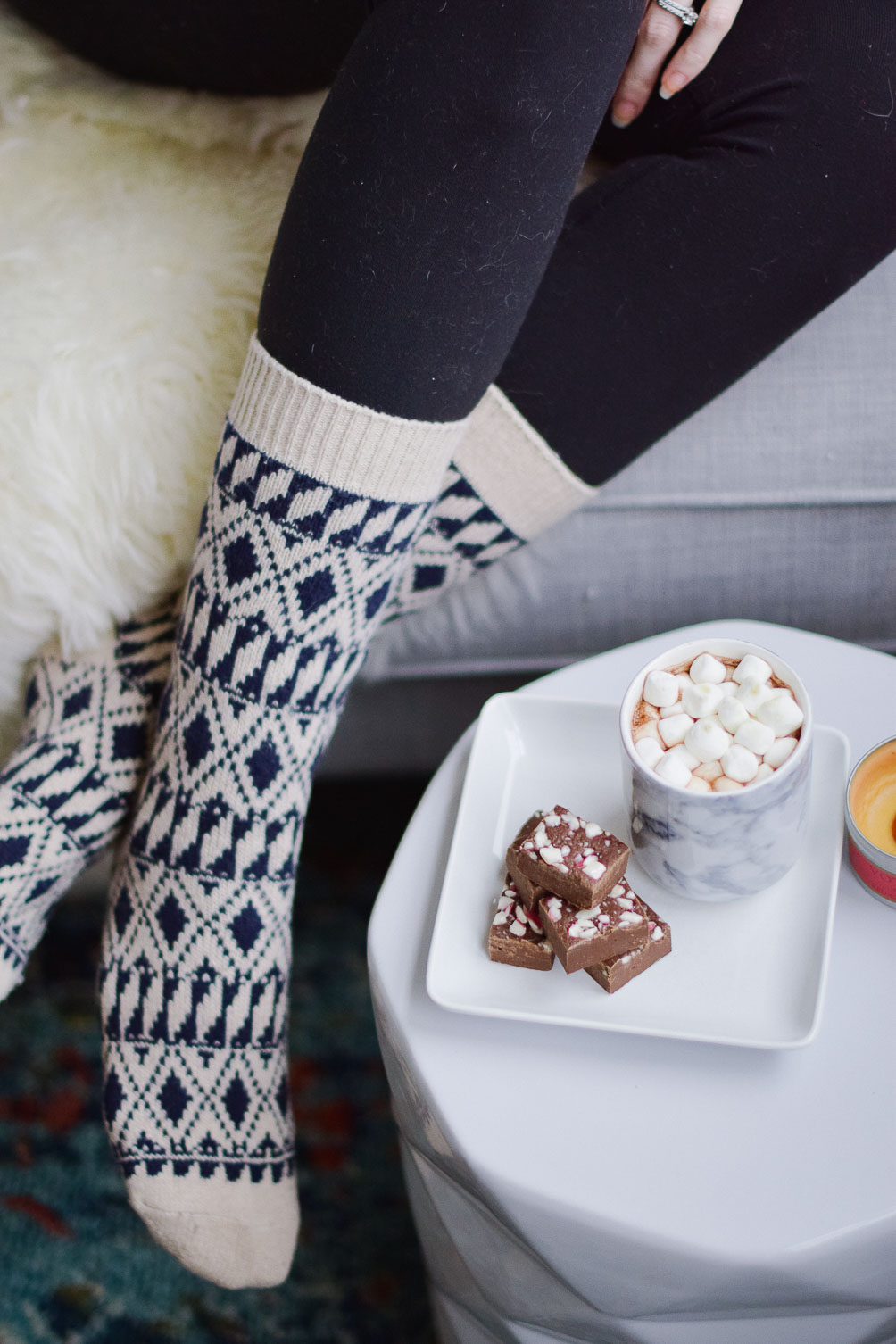 styling this cozy at home outfit with Lululemon leggings and J.Crew wool socks