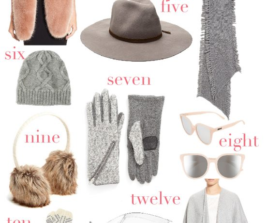 the best cozy winter accessories in blush and grey