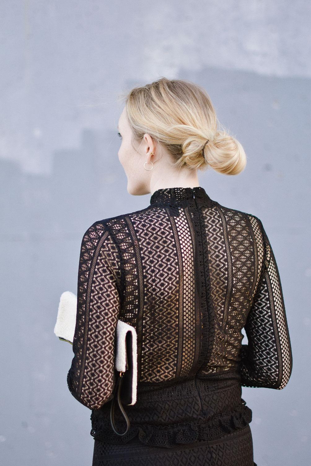open back black lace ruffle dress