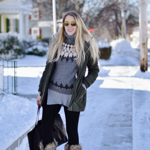 styling wool winter boots with faux fur details