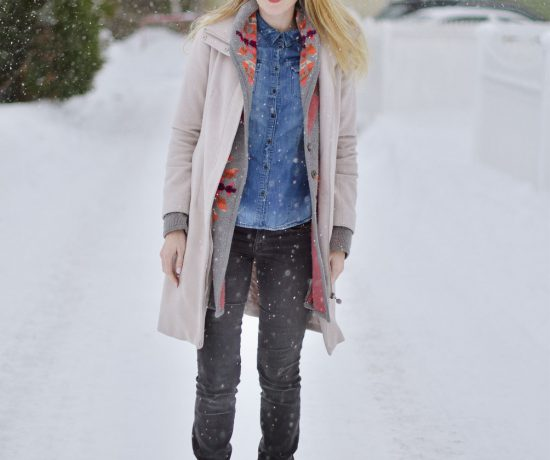 styling a winter look with aztec print sweater, chambray shirt, gray skinny jeans and brown boots