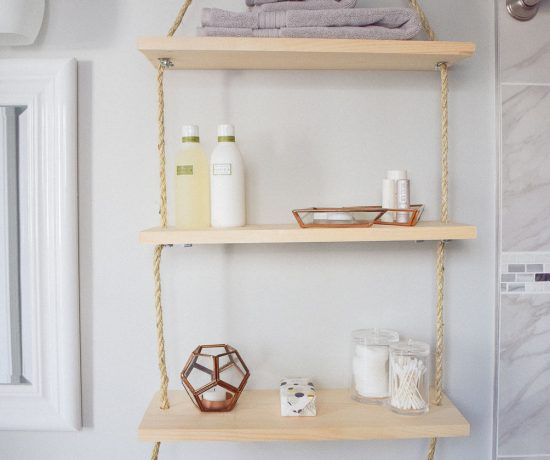 diy hanging shelves for bathroom storage