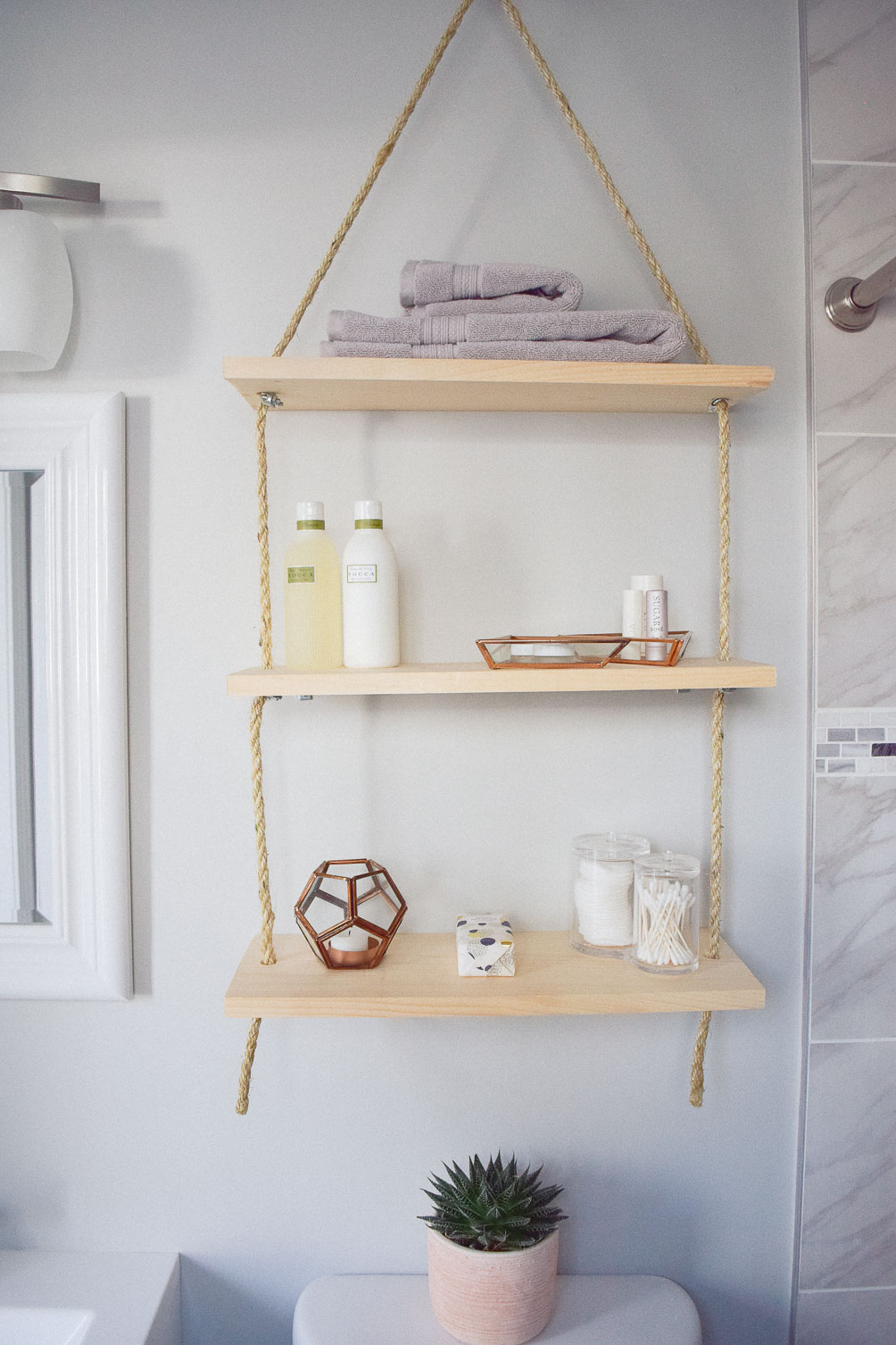diy hanging shelves - One Brass Fox