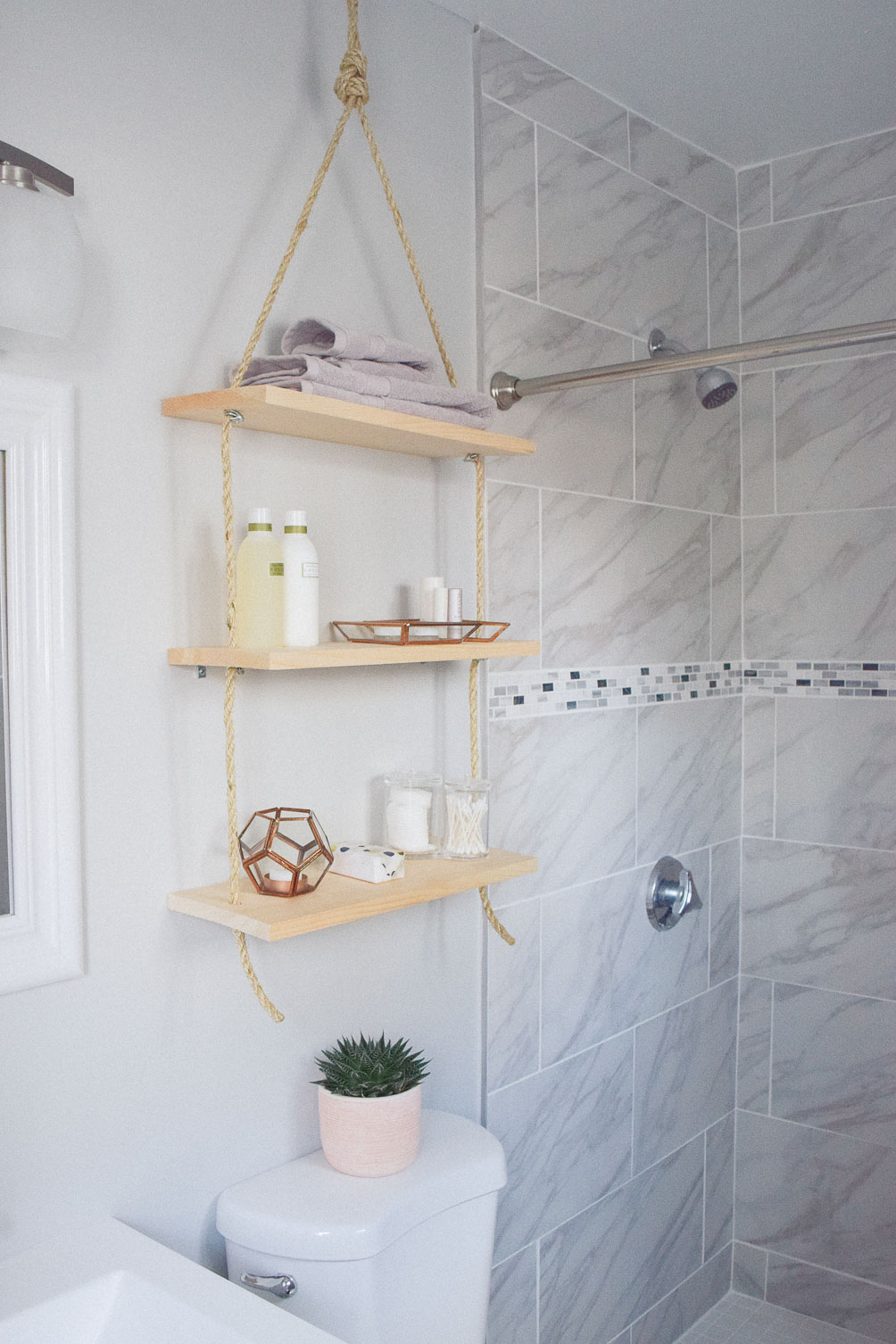 sharing an idea to update home decor with diy hanging shelves for bathroom storage