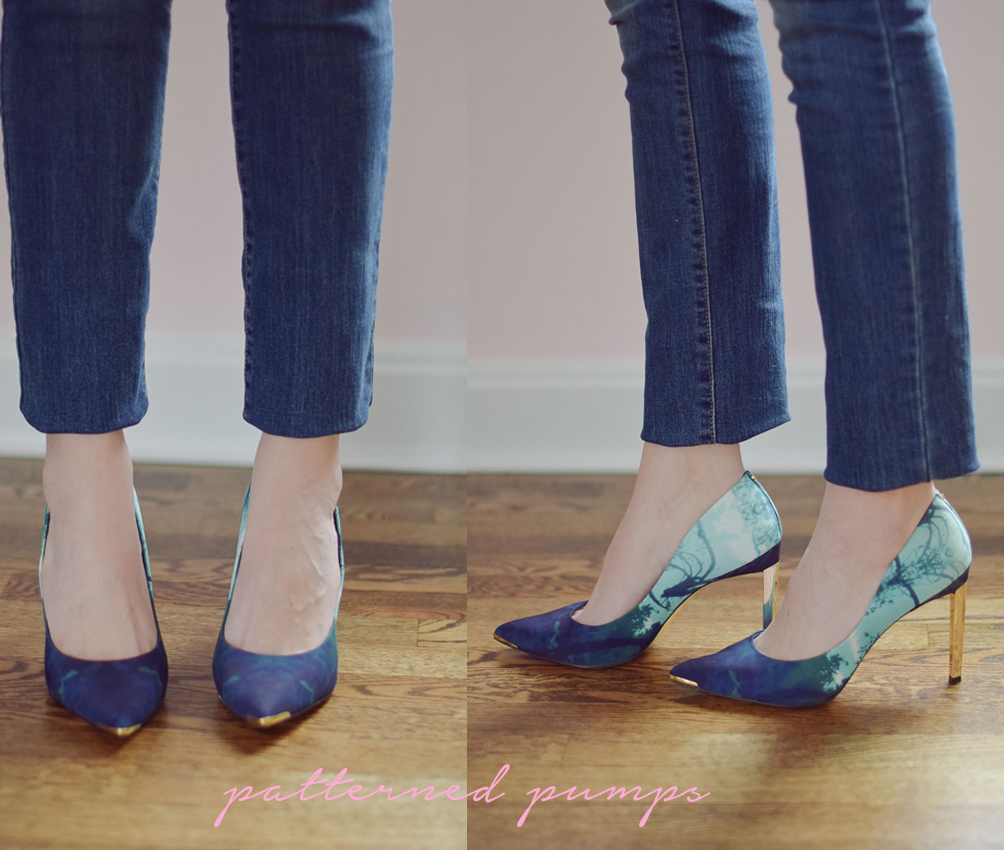 how to style patterned pumps with skinny jeans