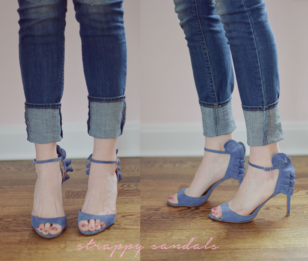 how to style strappy sandals with skinny jeans