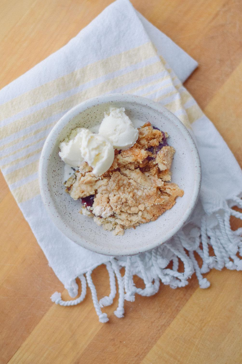 sharing an easy dessert recipe for blueberry dump cake