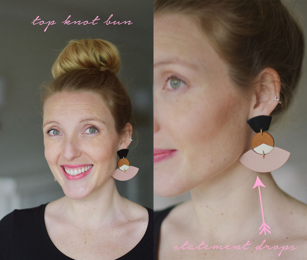 how to pair earrings with a hairstyle top knot bun