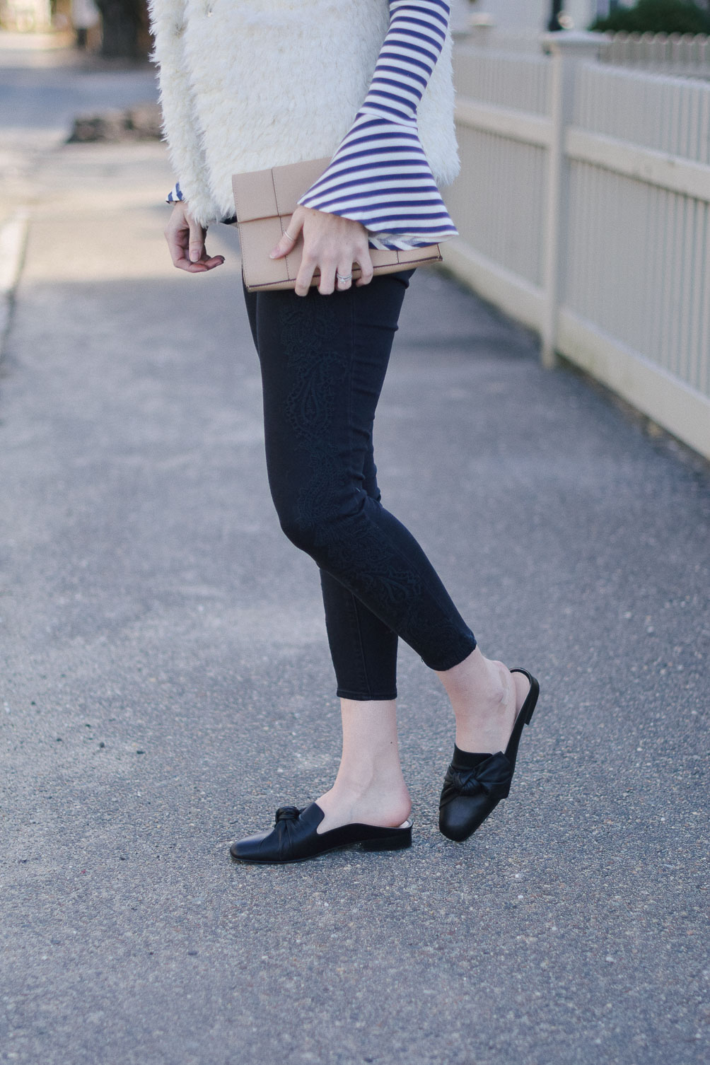 styling black bow leather slides - spring shoe obsession