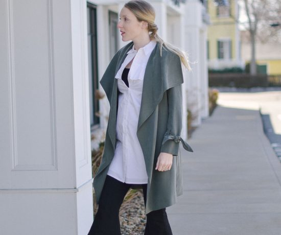 styling a layered spring outfit with olive trench coat, cropped pants, and peep toe mules