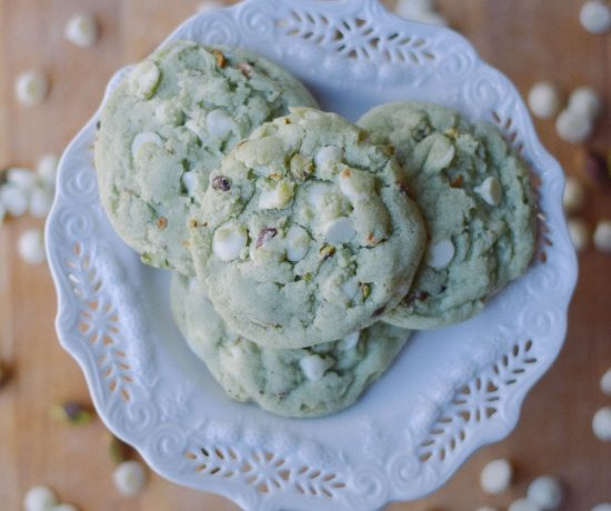 baking a delicious sweet recipe of pistachio white chocolate cookies for st patrick's day