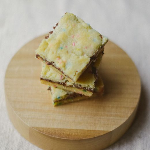 cooking up an easy spring dessert recipe for nutella crumble funfetti cake bars