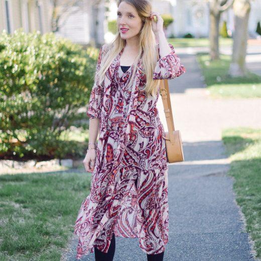 sheer overlay dress spring maternity style