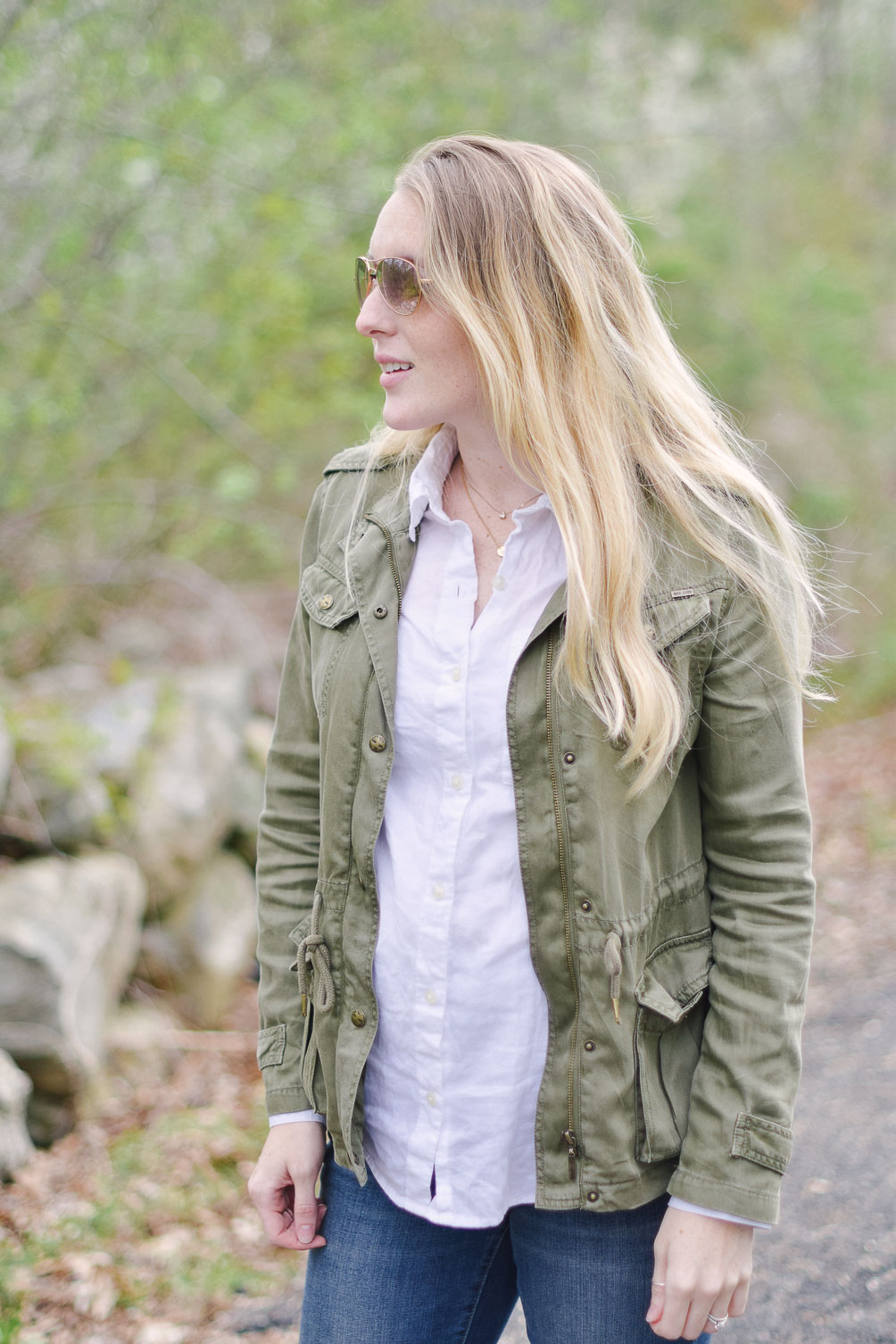 styling classic aviators with an army green spring jacket
