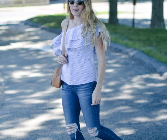 styling a summer outfit with this ruffle one shoulder top and distressed skinny jeans