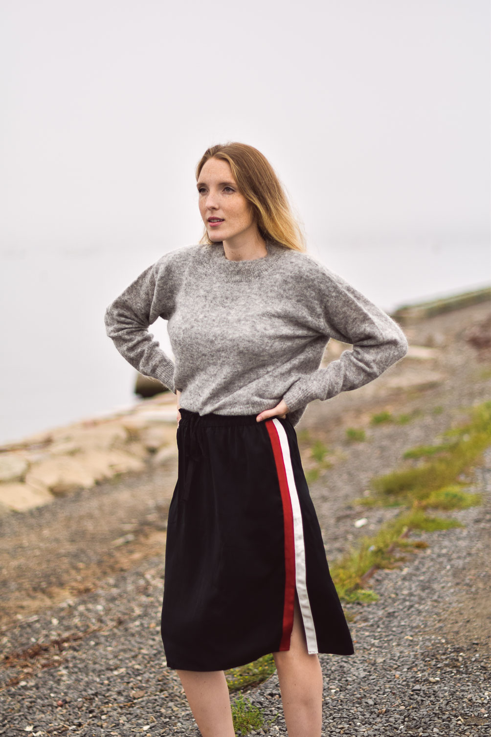 styling a mohair sweater with silky track skirt and black slingback pumps for fall outfit inspiration