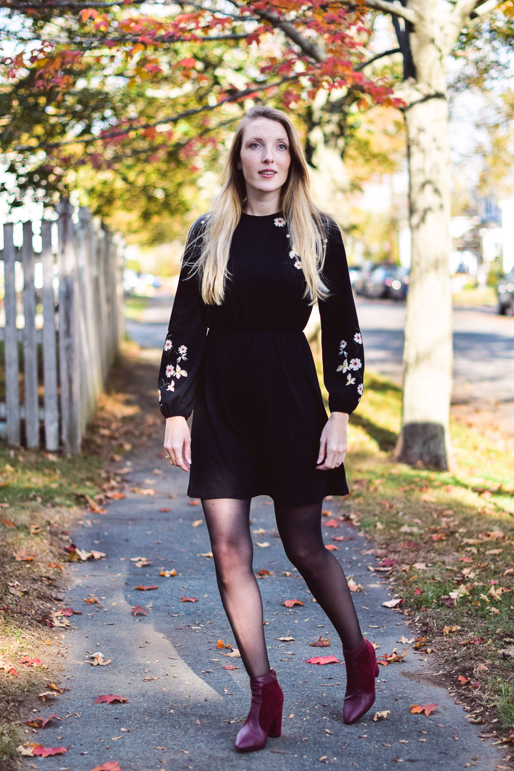 sharing an easy holiday party style with this balloon sleeve dress, checked trench coat, and oxblood booties