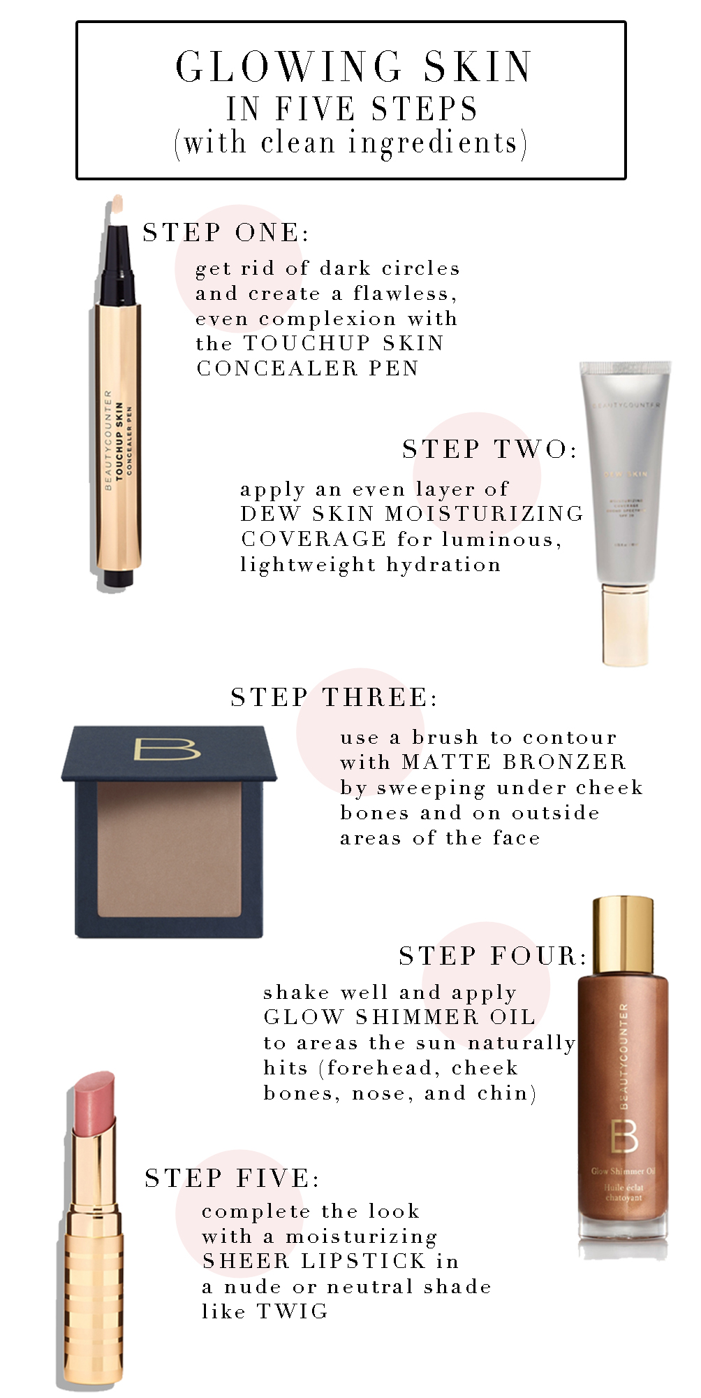 glowing skin in five steps with clean beauty products from Beautycounter