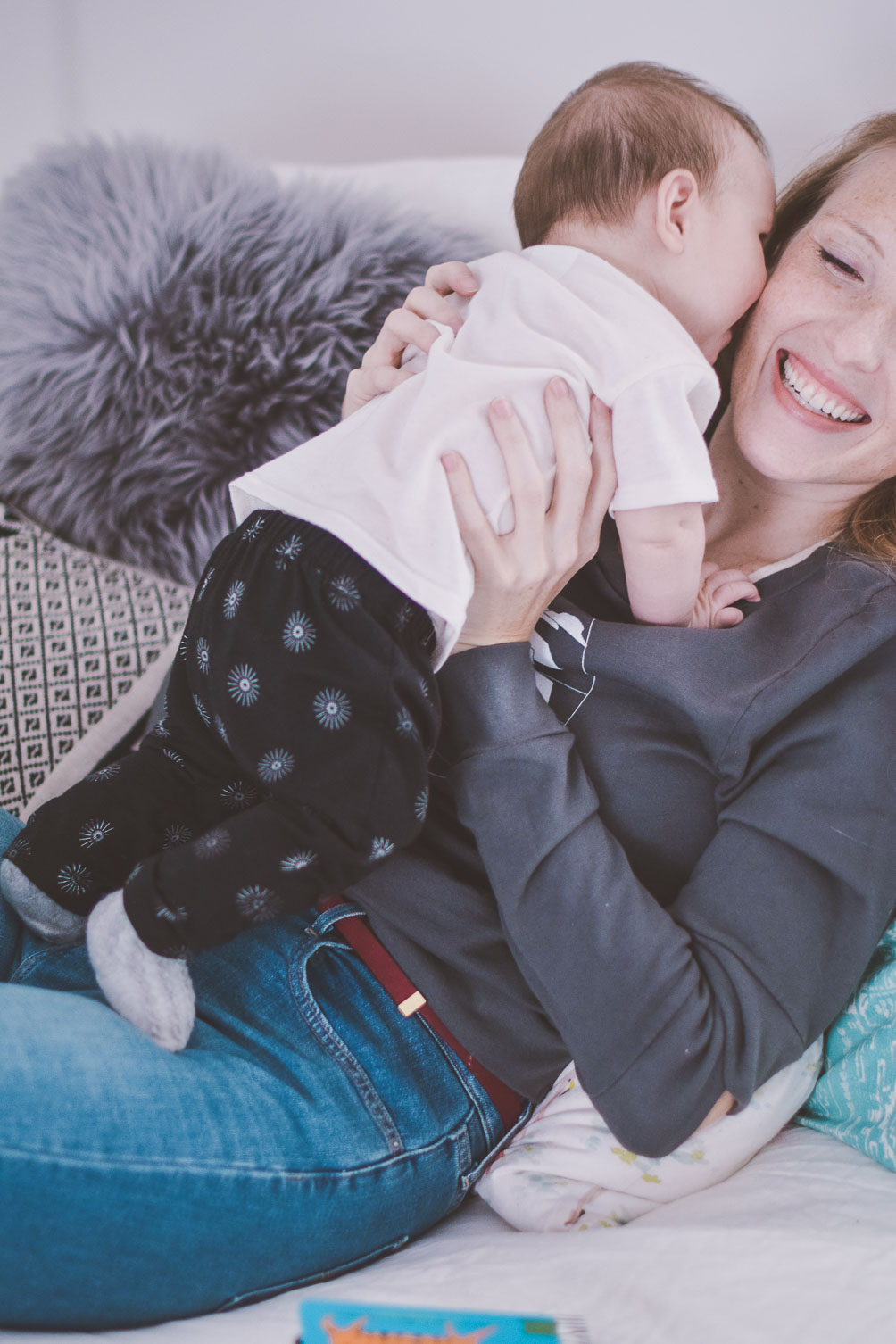 mom and baby boy photo in ethical sustainable clothing brand Color Cloud Mill