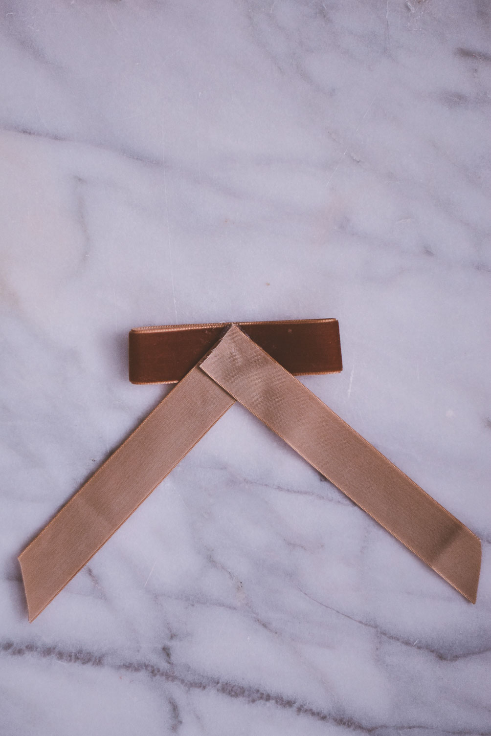 diy velvet hair tie ribbon tutorial in rust