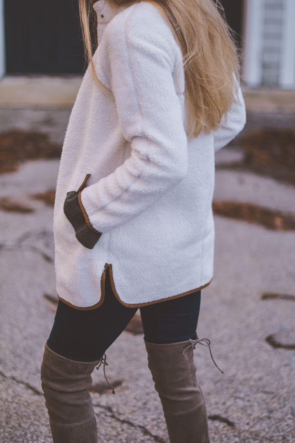 Old Navy sherpa jacket in ivory and brown styled with over-the-knee boots