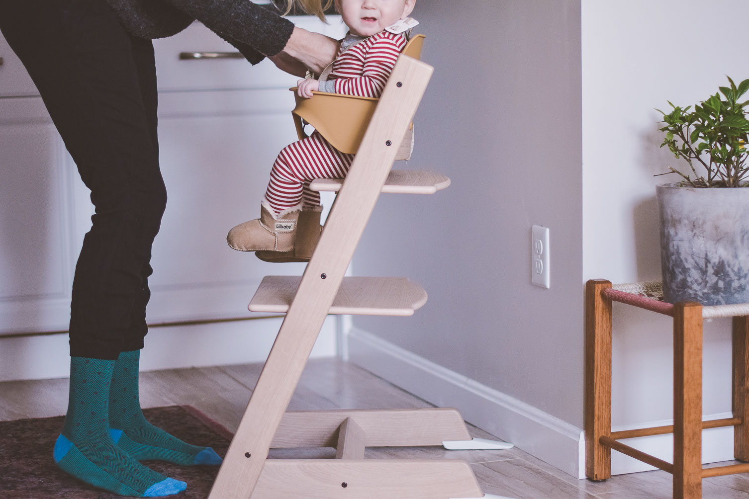sharing our Stokke Tripp Trapp review as a modern chic high chair that grows with the baby