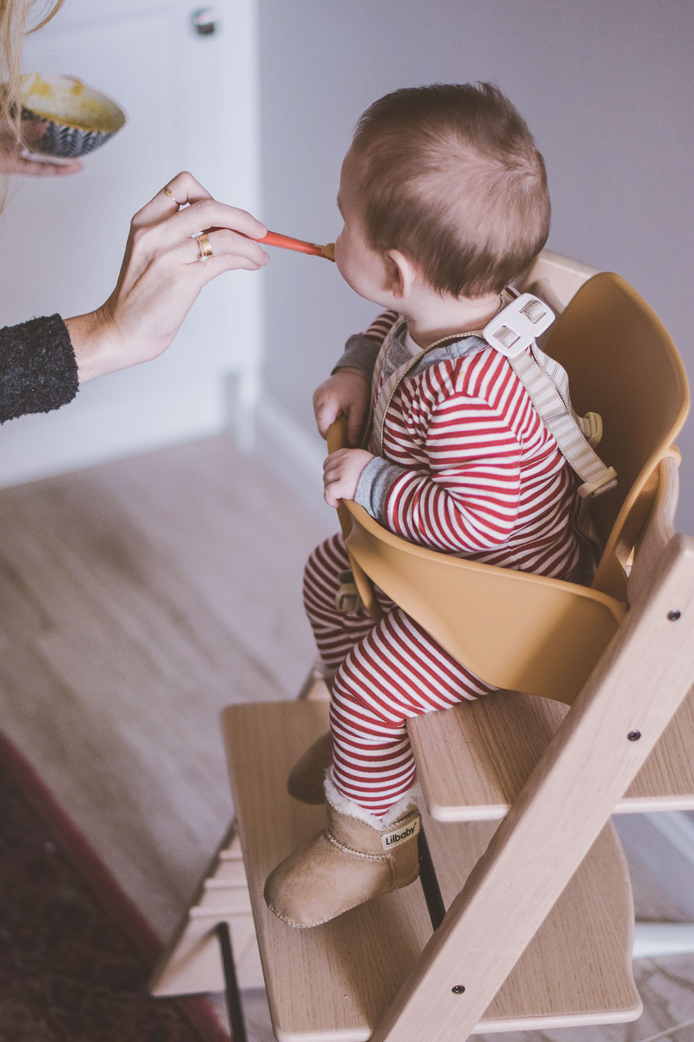 Stokke Tripp Trapp high chair bringing baby closer to the table