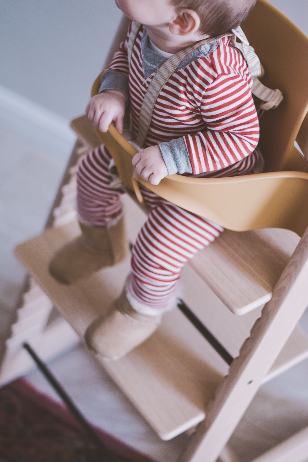 sharing our Stokke Tripp Trapp review in white oak with natural baby insert