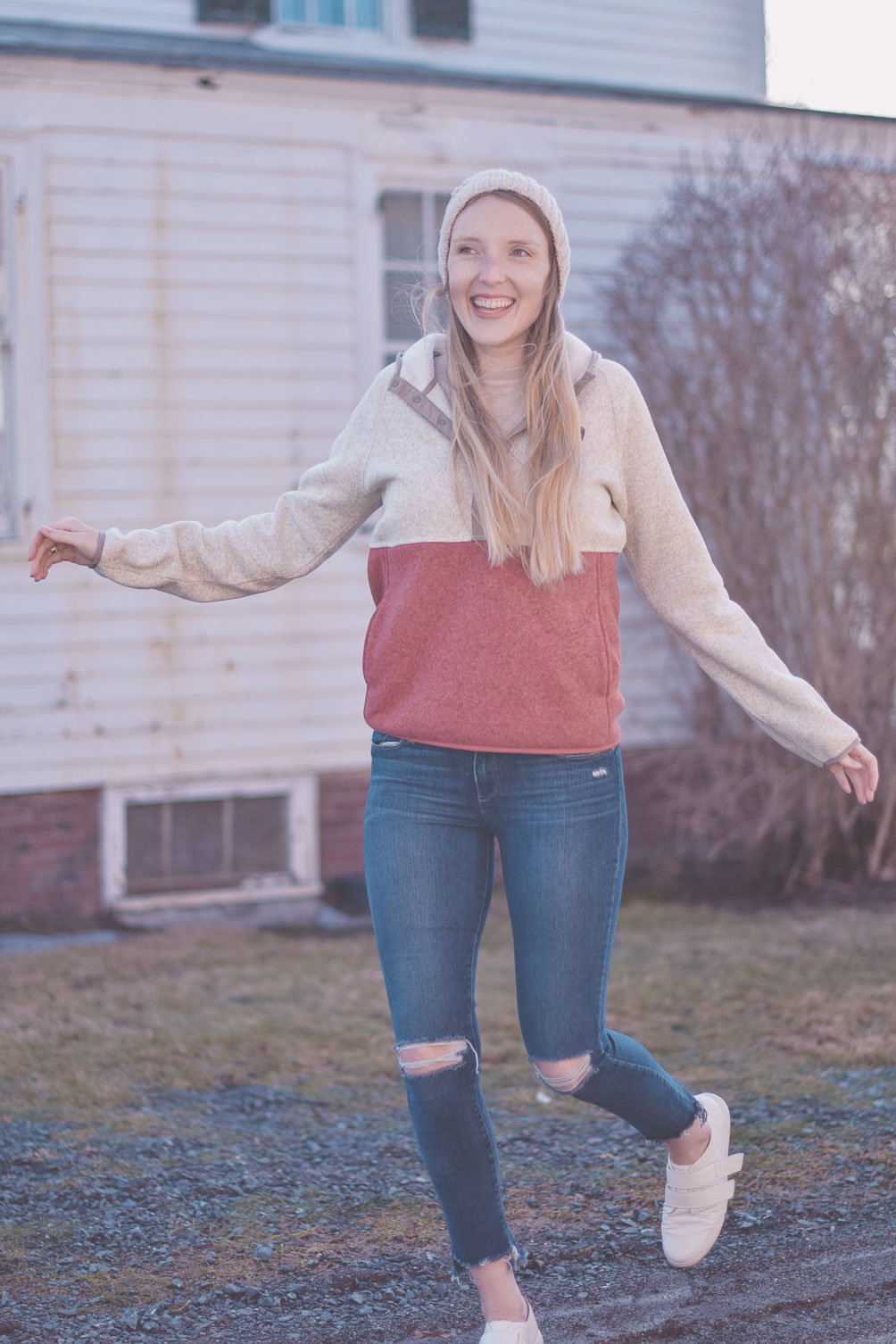 sharing the five best winter wardrobe additions including an L.L. Bean fleece pullover hoodie