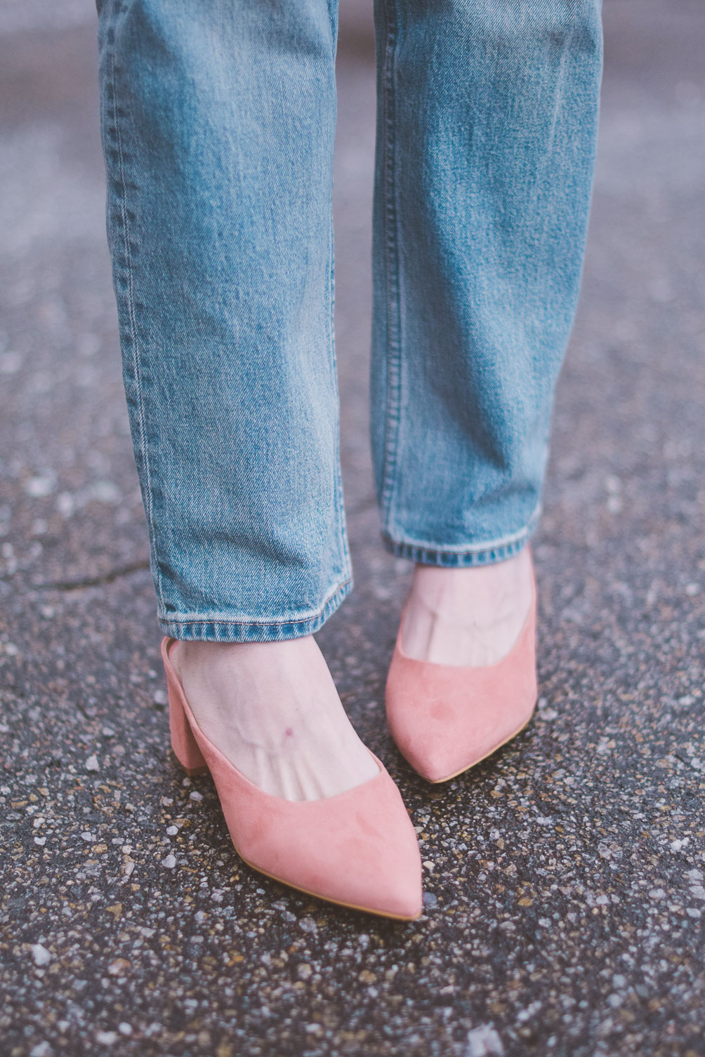 wearing Gap pink suede block heel mules