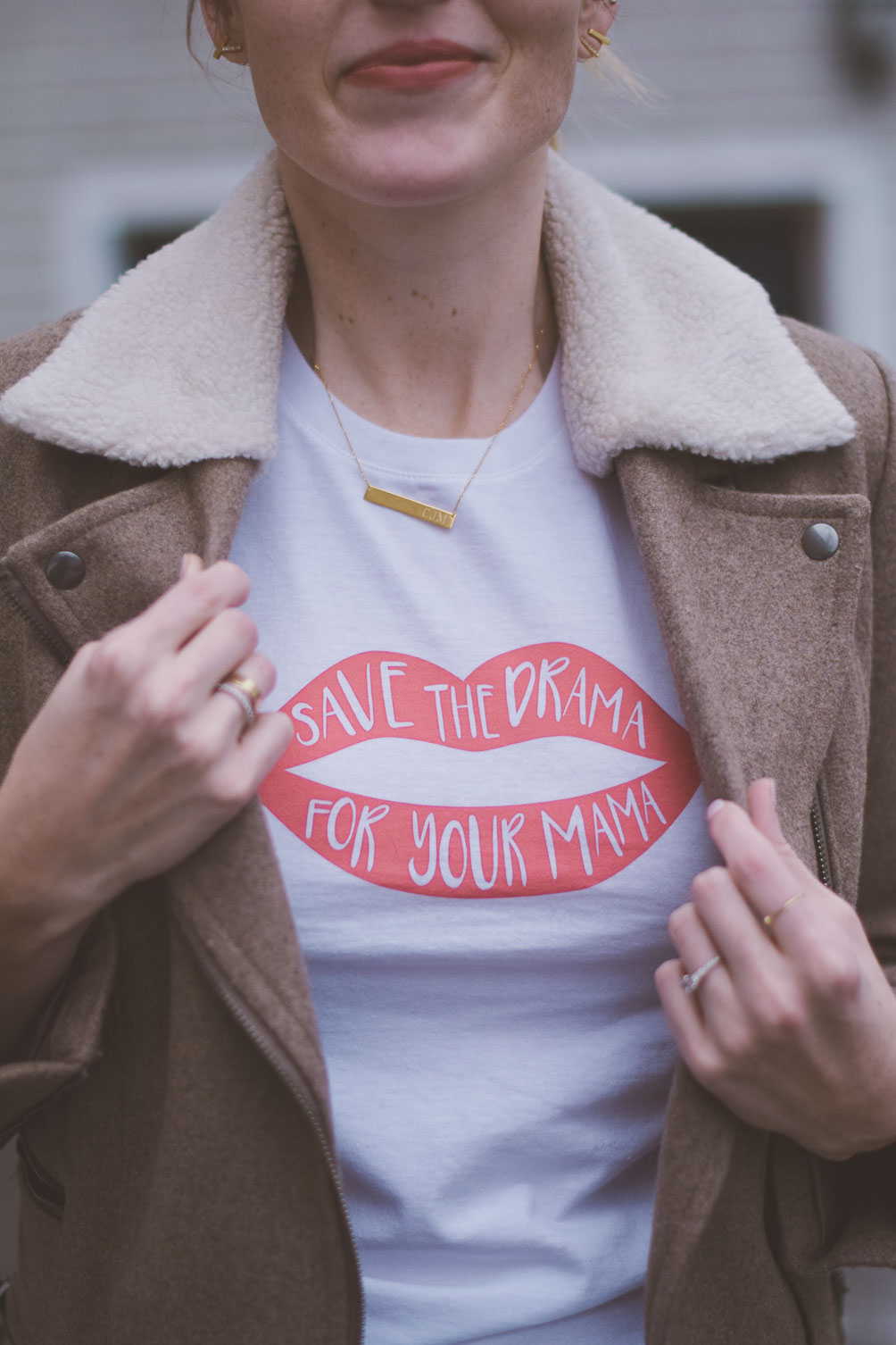 wearing friends save the drama for your mama red lips tee