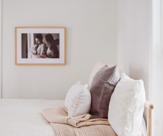 styling three options bed pillow arrangement with Coyuchi - modern, traditional, layered