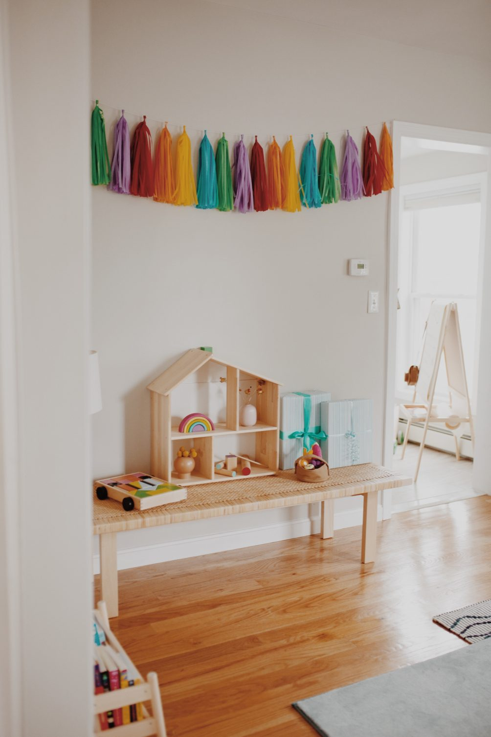 rainbow first birthday party for baby boy with IKEA kids furniture