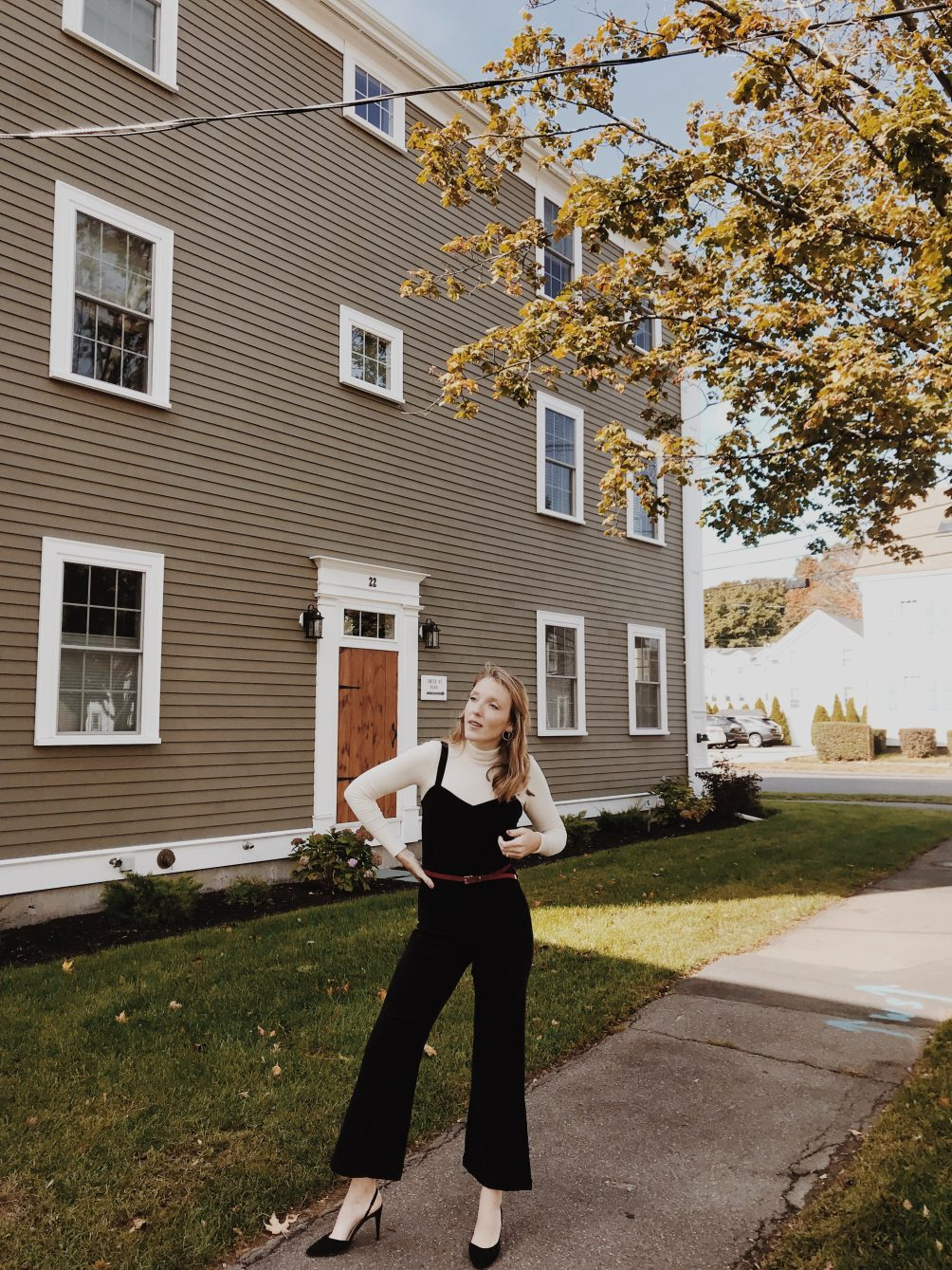 styling an easy, comfortable, chic holiday party outfit with LACAUSA featuring a jumpsuit and turtleneck