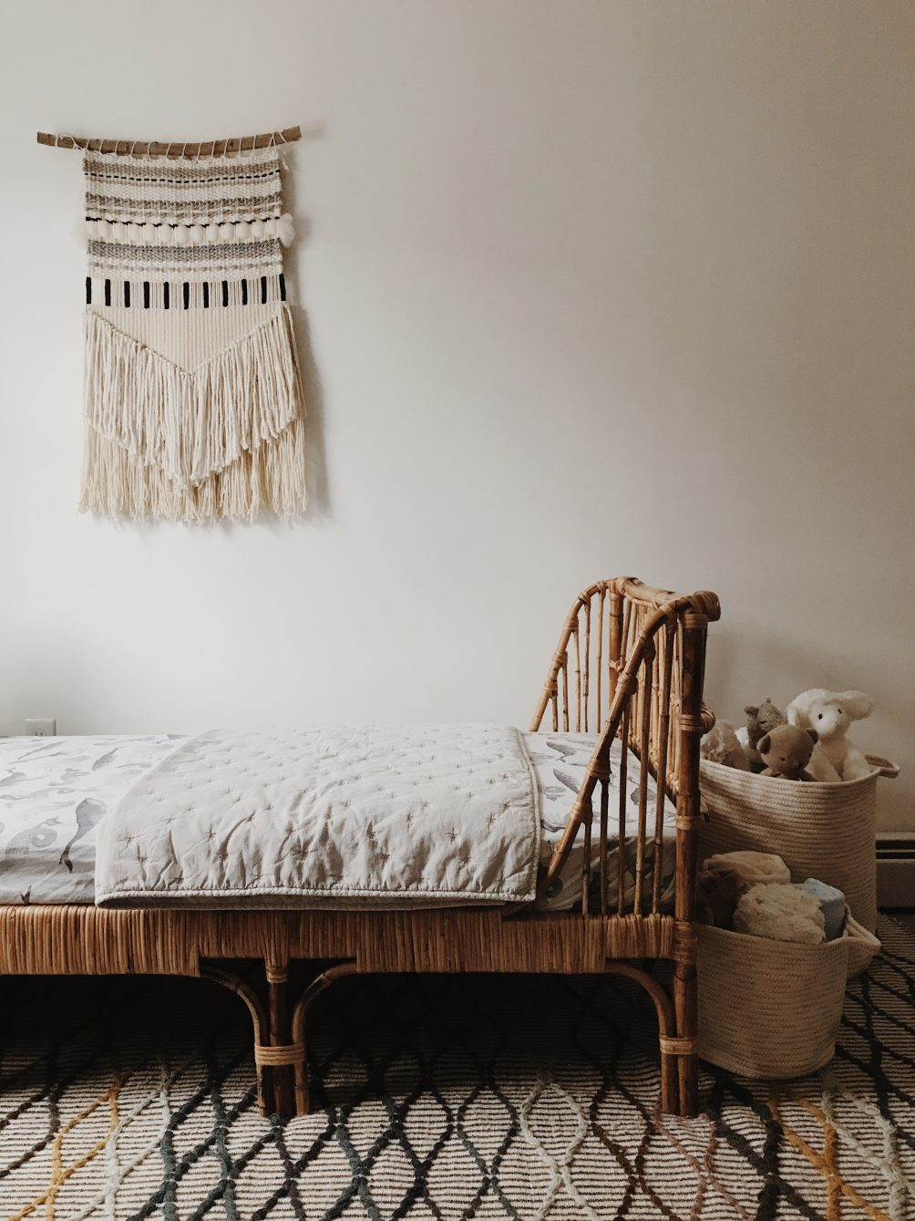how we tackled the big boy bed transition with Article - kids bedroom interior design