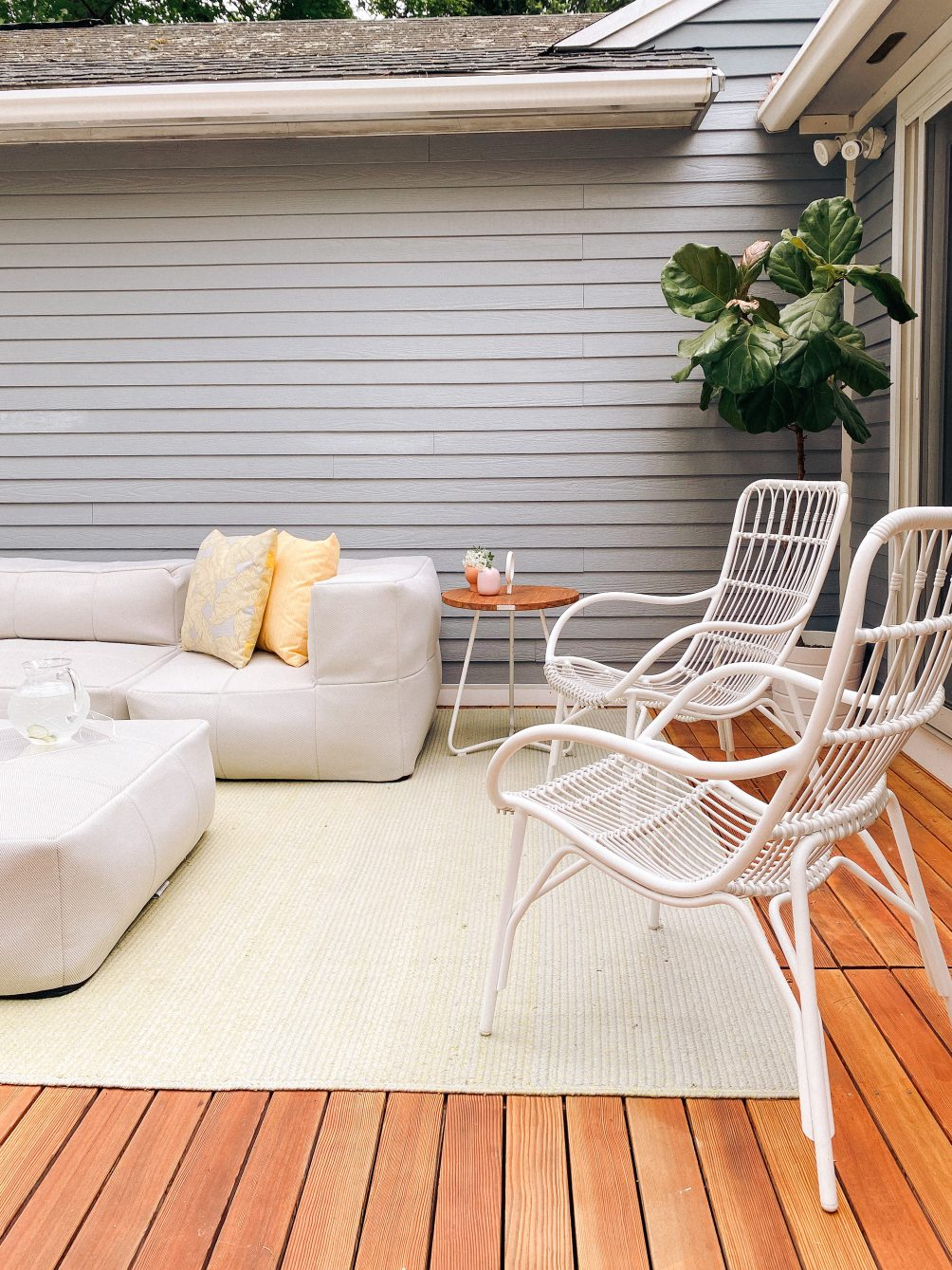 backyard deck design with Article furniture for summer in quarantine