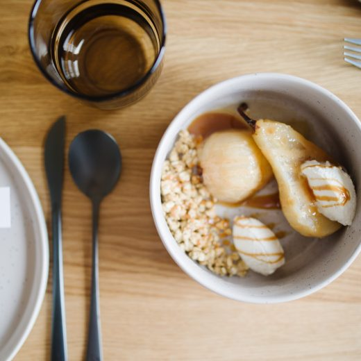 Sharing a recipe for cider poached pears with Our Place dinnerware
