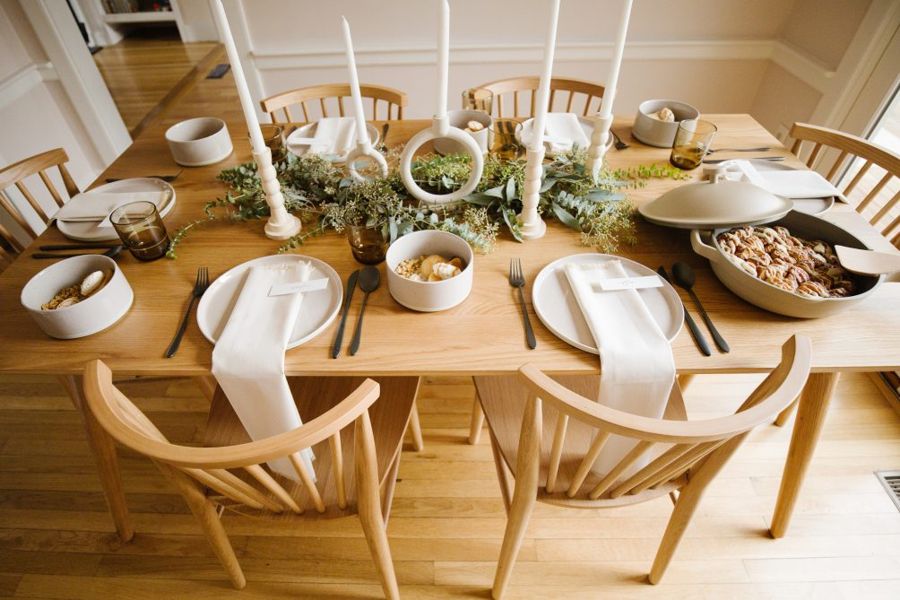 intimate holiday table with Article for 2020 festive gatherings