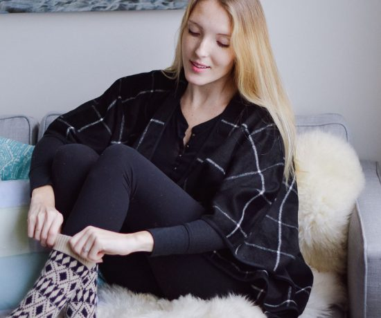 styling this cozy at home outfit with an Old Navy Cape, Lululemon leggings, and J.Crew wool socks