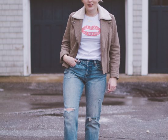 wearing high rise straight jeans with a shearling collar jacket, graphic tee, and pink block heel mules