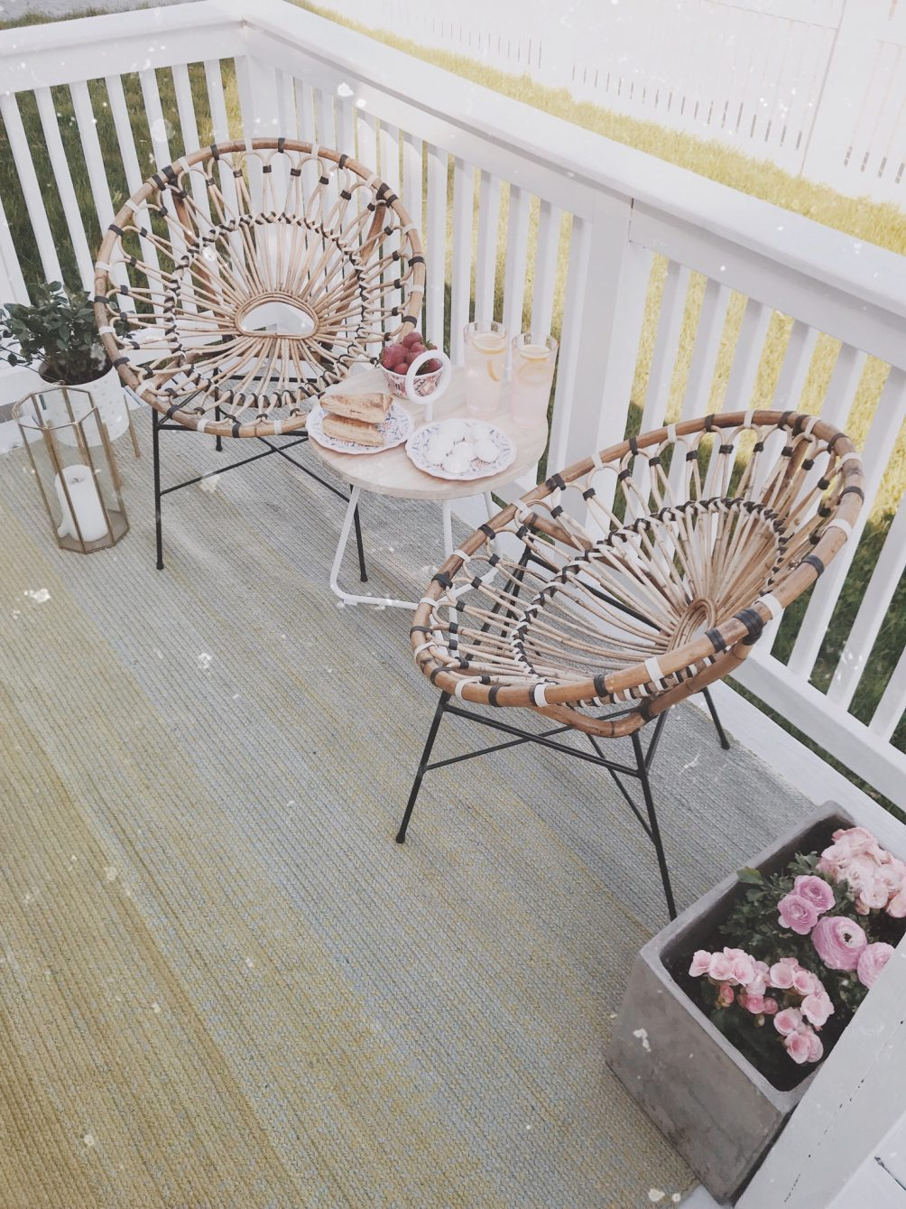 sharing our modern summer outdoor oasis with bohemian furniture pieces from Article